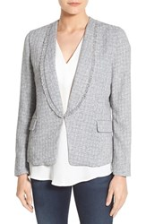 Gibson Women's Fringe Trim Blazer Grey White