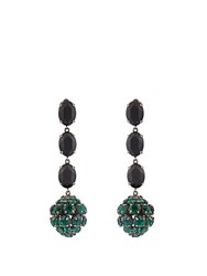 Marni Crystal Sphere Shaped Drop Earrings Black Green