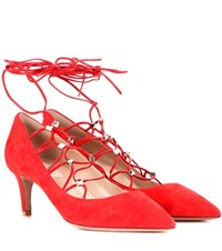 Valentino Rockstud Suede Lace Up Pumps Red