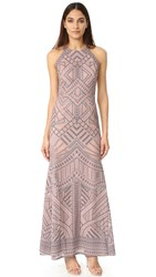 Bcbgmaxazria Mesh Inset Gown Antique Rose