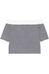 Jonathan Simkhai Off The Shoulder Gingham Stretch Knit Top Storm Blue