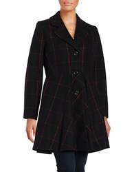 Cece Fit And Flare Wool Blend Buttoned Coat Black Red