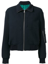 Paul Smith Multi Pockets Bomber Jacket Women Cotton Polyamide Polyester Cupro 42 Blue