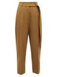 Petar Petrov Hilary High Rise Cropped Wool Twill Trousers Khaki