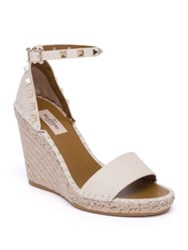 Valentino Rockstud Double Leather Espadrille Wedge Sandals Poudre Light Ivory Bright Cuir