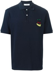 Ami Alexandre Mattiussi Fruit Logo Polo Shirt Blue