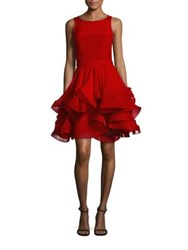Reem Acra Ruffled Silk Cocktail Dress Red