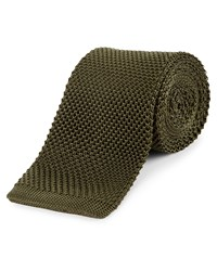 Jaeger Silk Knitted Tie Olive