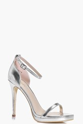 Boohoo Metallic Single Platform Two Part Heels Silver