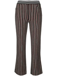 Missoni Striped Cropped Trousers Viscose Wool Black