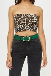 Topshop Pony Buckle Belt Green