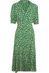 Ganni Dalton Floral Print Crepe Wrap Dress Green