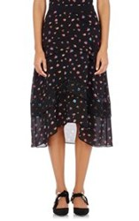 Proenza Schouler Floral Georgette Tiered Skirt Black