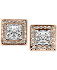 T Tahari Gold Tone Crystal Square Button Earrings