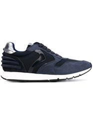 Voile Blanche Panelled Sneakers Men Leather Nylon Rubber 45 Blue