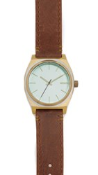 Nixon The Time Teller Leather Watch Brass Green Brown