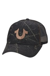 Men's True Religion Brand Jeans Spray Print Trucker Cap Black