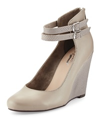 Seychelles Herestoyou Ankle Wrap Wedge Light Gray Ostrich