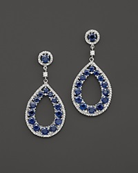Bloomingdale's Sapphire And Diamond Teardrop Earrings In 14K White Gold White Blue