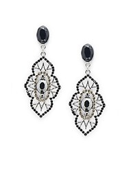 Saks Fifth Avenue Decorative Sparkling Dangle Earrings Silver