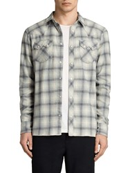 Allsaints Mohave Slim Fit Check Shirt Grey