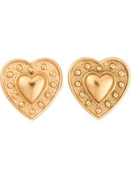 Yves Saint Laurent Vintage Heart Clip On Earrings Metallic
