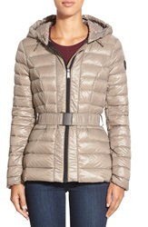 Dkny Packable Belted Hooded Down Jacket Mushroom