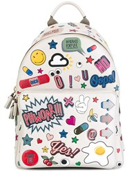 Anya Hindmarch 'All Over Wink Stickers' Backpack White