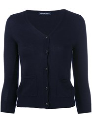 Samantha Sung V Neck Cardigan Women Silk Cashmere S Blue