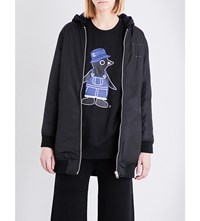Chocoolate Text Print Shell Bomber Jacket Black