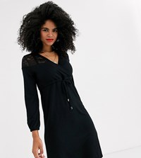 Mamalicious Nursing Lace Detail Jersey Dress In Black