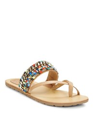 Latigo Beaded Thong Sandals Multi Colored