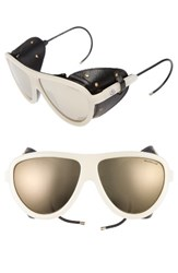 Moncler Women's 57Mm Mirrored Shield Sunglasses Opal Black Brown Mirror Opal Black Brown Mirror