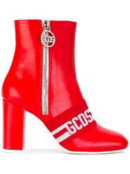 Gcds Logo Stripe Ankle Boots Women Leather Rubber 37 Red
