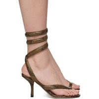 Bottega Veneta Khaki Python Heeled Sandals