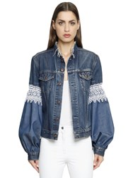 Forte Couture Cotton Denim Jacket W Lace Inserts