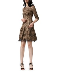 Kay Unger Embroidered Three Quarter Sleeve Fit And Flare Dress Gold