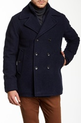 Ben Sherman Wool Blend Funnel Neck Peacoat Blue