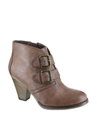 Mia Farris Double Buckle Ankle Boots Taupe
