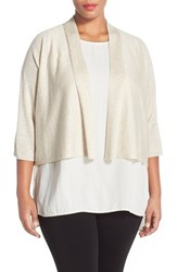 Plus Size Women's Eileen Fisher Kimono Sleeve Crop Cardigan Maple Oat