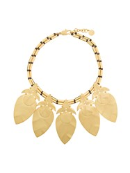 Tory Burch Hammered Leaf Necklace Metallic
