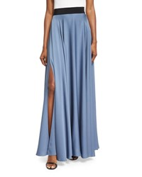 Milly Silk A Line Maxi Skirt Denim