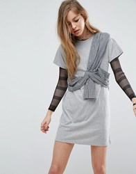 Asos T Shirt Dress With Gingham Bustier Wrap Detail Gray