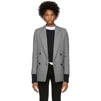 Stella Mccartney Navy And White Houndstooth Wool Coat