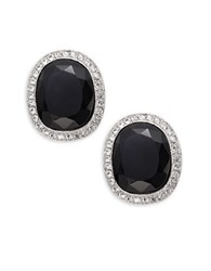 Kenneth Jay Lane Crystal Pave Trimmed Black Stone Clip On Earrings