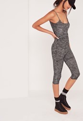 Missguided Space Dye Cropped Leg Jumpsuit Grey Grey
