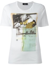 Dsquared2 Vintage Glitter Collage T Shirt White