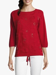 Betty Barclay Embellished Textured Top Red Scarlet