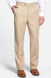 Berle Men's Self Sizer Waist Flat Front Trousers Tan