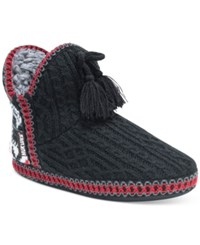 Muk Luks Amira Snowflake Lodge Boot Slippers Ebony
